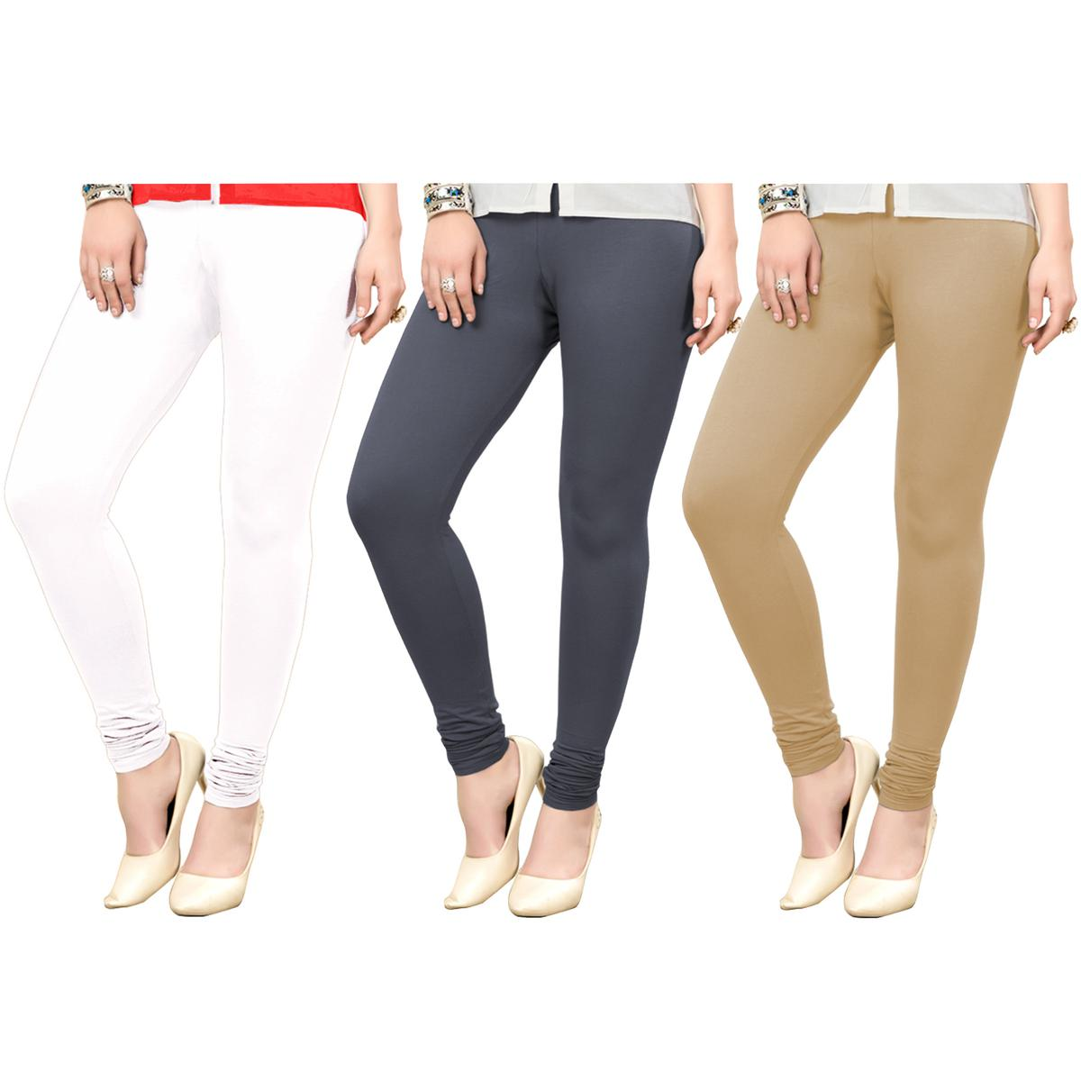 Engrossing Casual Wear Ankle Length Cotton Leggings - Pack of 3