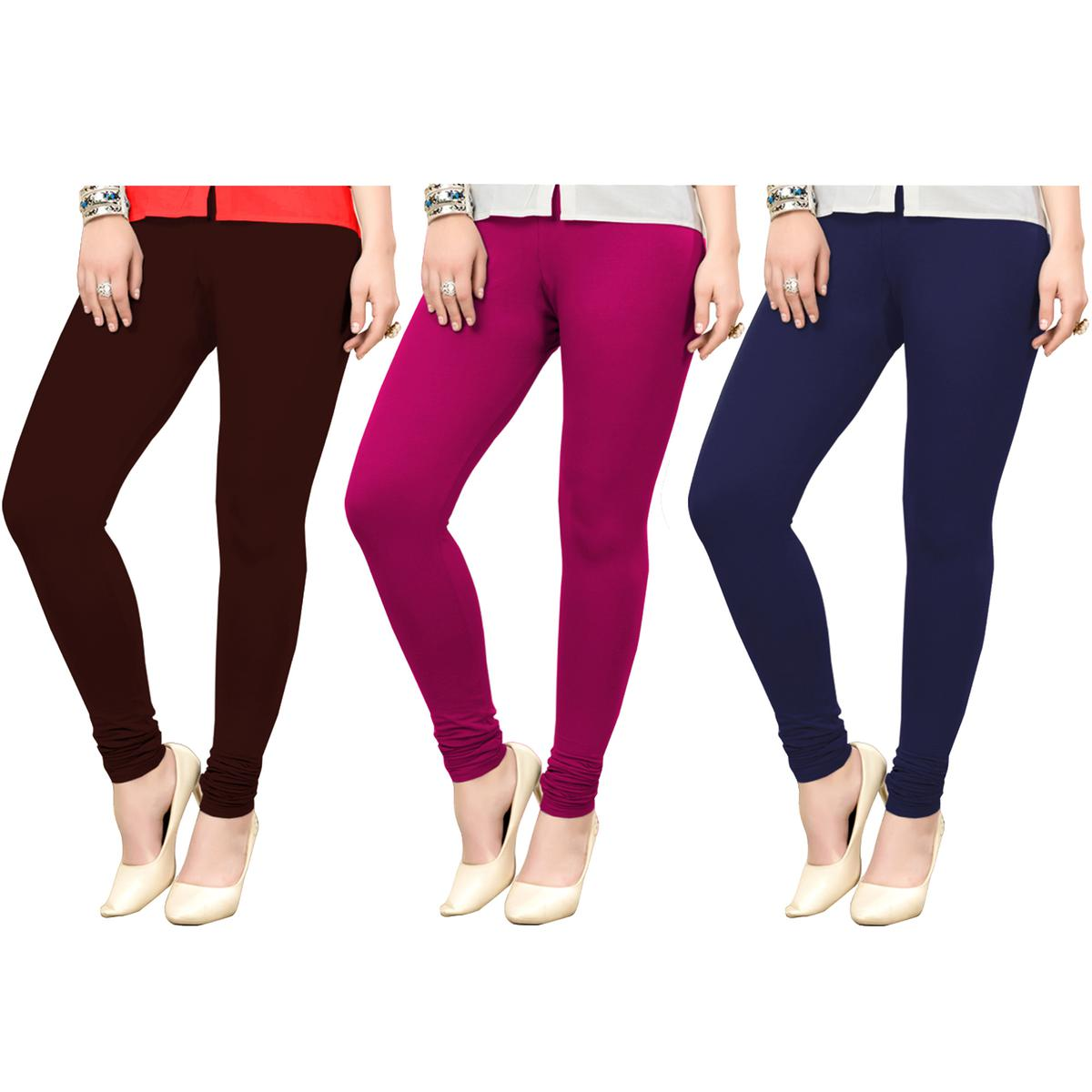 Captivating Casual Wear Ankle Length Cotton Leggings - Pack of 3