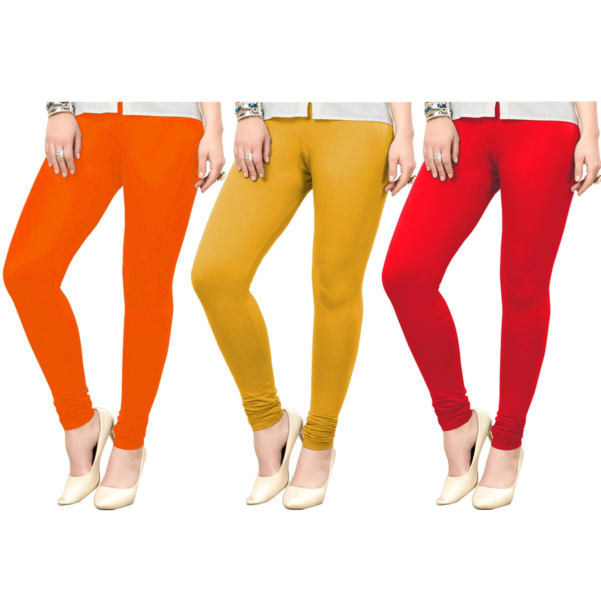 Innovative Casual Wear Ankle Length Cotton Leggings - Pack of 3