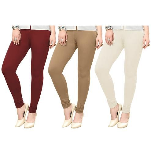Eye-catching Casual Wear Ankle Length Cotton Leggings - Pack of 3