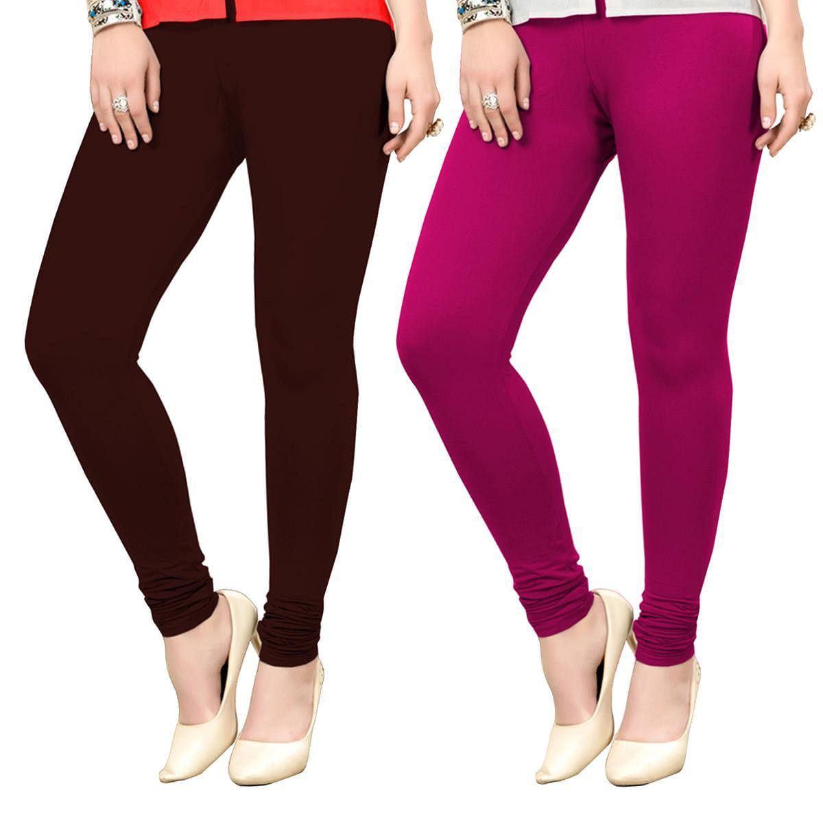 Blissful Casual Wear Ankle Length Cotton Leggings - Pack of 2