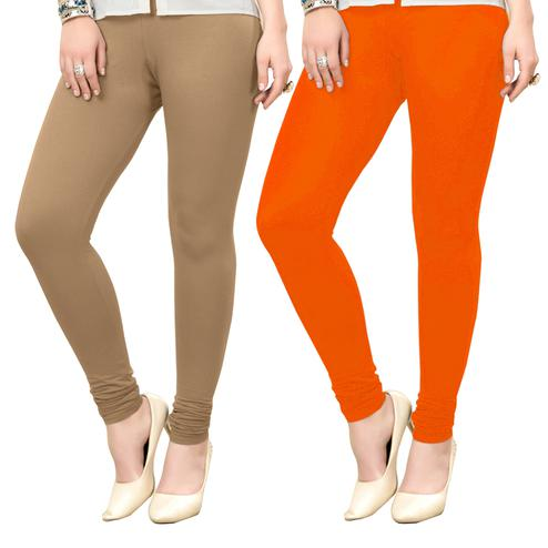 Imposing Casual Wear Ankle Length Cotton Leggings - Pack of 2