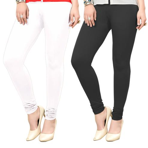 Majesty Casual Wear Ankle Length Cotton Leggings - Pack of 2