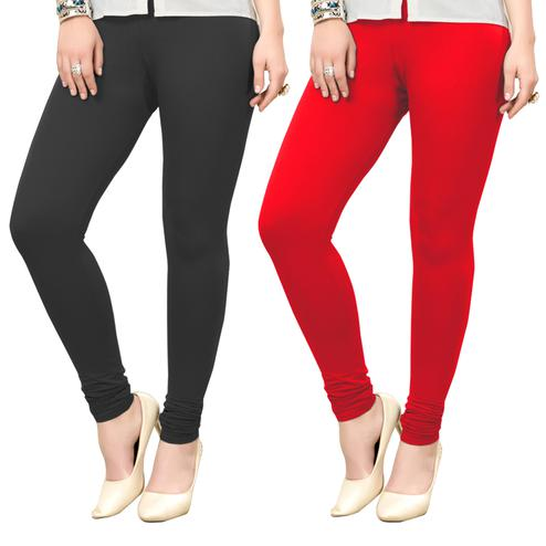 Impressive Casual Wear Ankle Length Cotton Leggings - Pack of 2