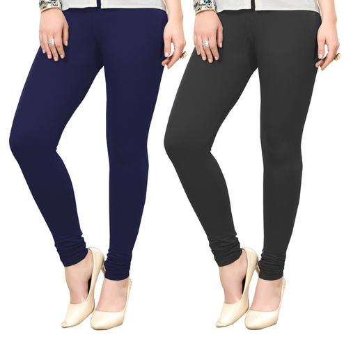 Jazzy Casual Wear Ankle Length Cotton Leggings - Pack of 2