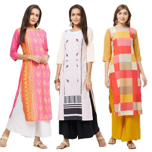 Adorable Casual Printed Crepe Kurti - Pack of 3