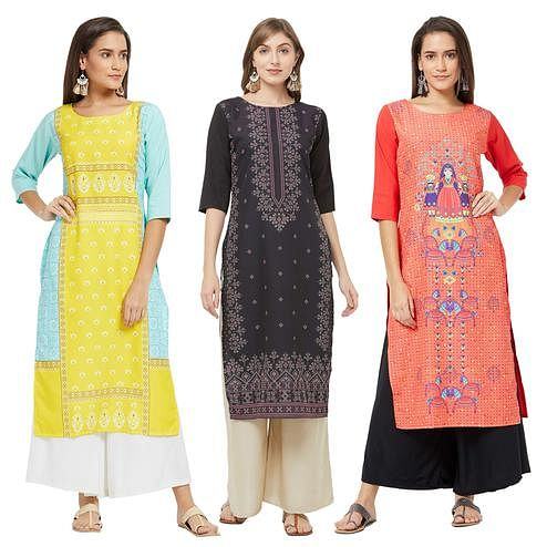 Attractive Casual Printed Crepe Kurti - Pack of 3