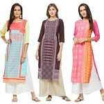 Beautiful Casual Printed Crepe Kurti - Pack of 3