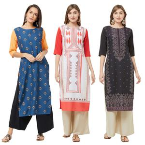 Graceful Casual Printed Crepe Kurti - Pack of 3