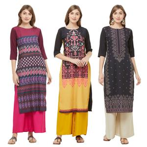 Charming Casual Printed Crepe Kurti - Pack of 3