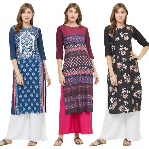 Jazzy Casual Printed Crepe Kurti - Pack of 3