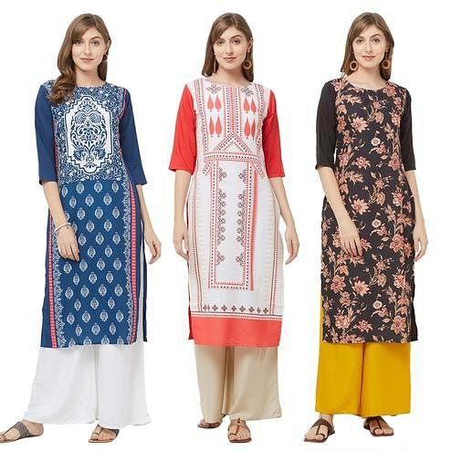 Delightful Casual Printed Crepe Kurti - Pack of 3