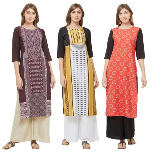 Captivating Casual Printed Crepe Kurti - Pack of 3