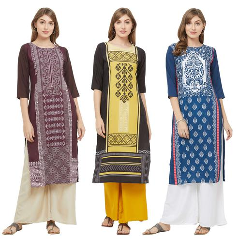 Innovative Casual Printed Crepe Kurti - Pack of 3