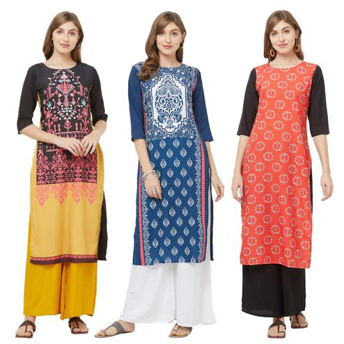 Eye-catching Casual Printed Crepe Kurti - Pack of 3