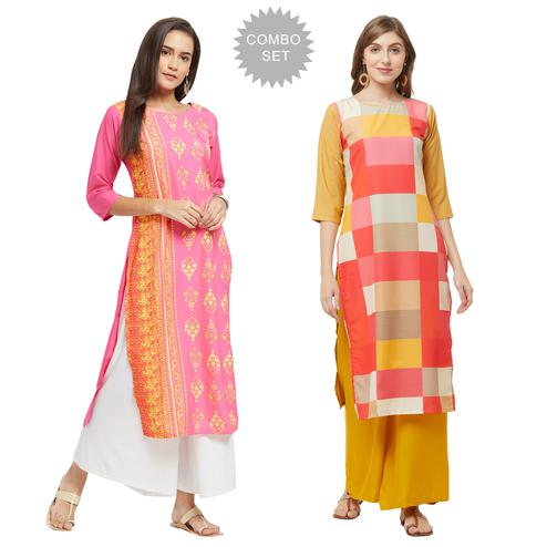 Gorgeous Casual Printed Crepe Kurti - Pack of 2