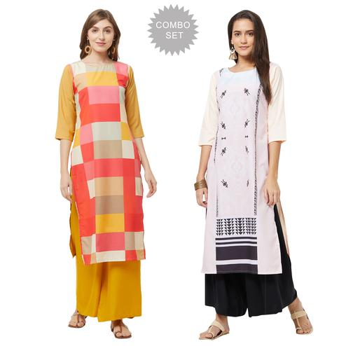 Blissful Casual Printed Crepe Kurti - Pack of 2