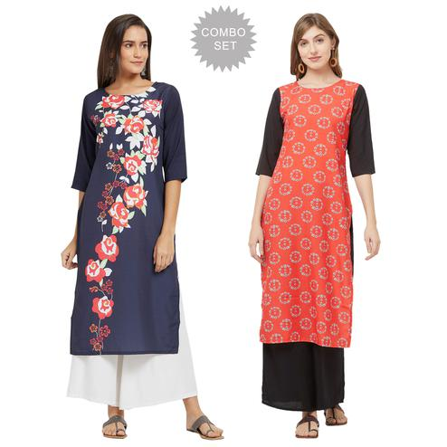 Imposing Casual Printed Crepe Kurti - Pack of 2