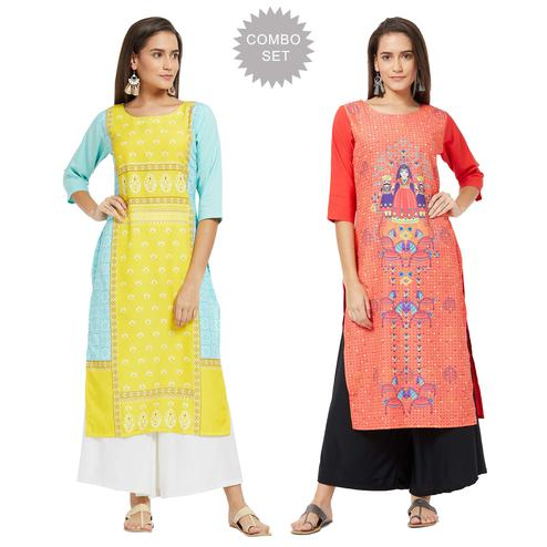 Lovely Casual Printed Crepe Kurti - Pack of 2
