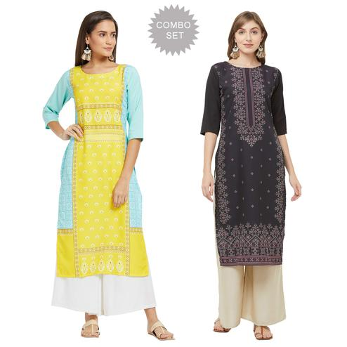 Majesty Casual Printed Crepe Kurti - Pack of 2