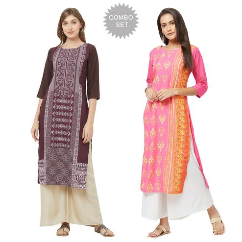 Pleasance Casual Printed Crepe Kurti - Pack of 2
