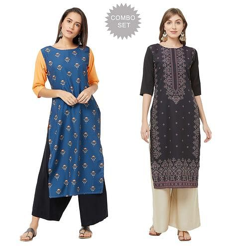 Breathtaking Casual Printed Crepe Kurti - Pack of 2