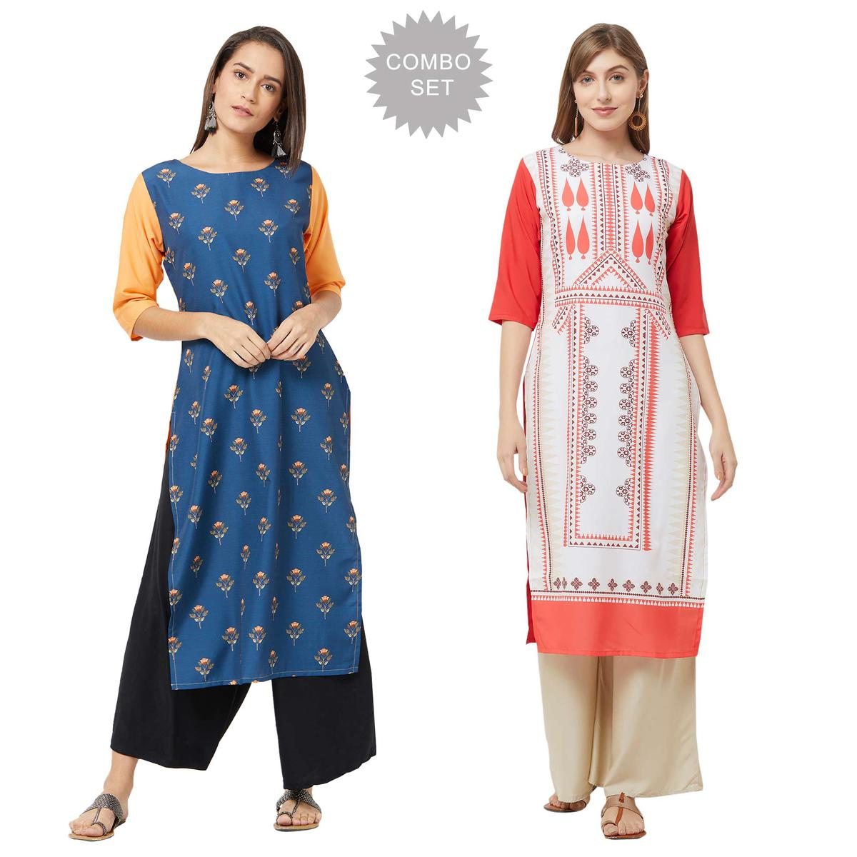 Ethnic Casual Printed Crepe Kurti - Pack of 2