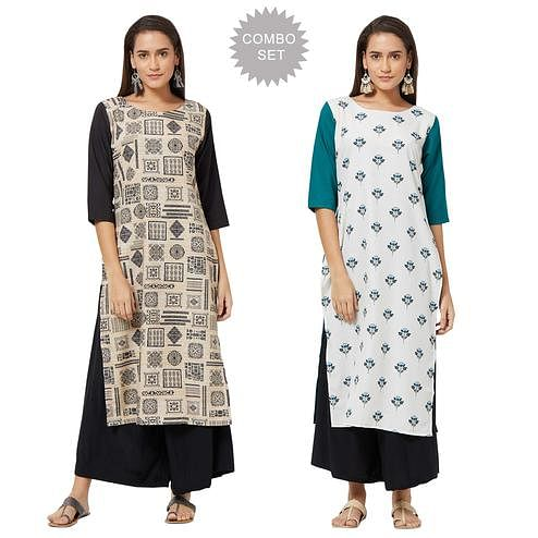 Staring Casual Printed Crepe Kurti - Pack of 2