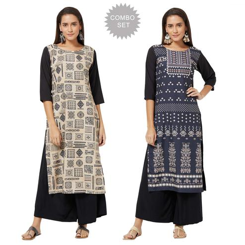 Dazzling Casual Printed Crepe Kurti - Pack of 2