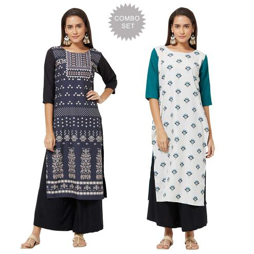Surpassing Casual Printed Crepe Kurti - Pack of 2