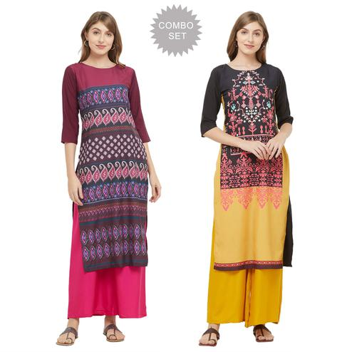 Refreshing Casual Printed Crepe Kurti - Pack of 2