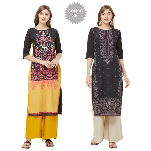Magnetic Casual Printed Crepe Kurti - Pack of 2