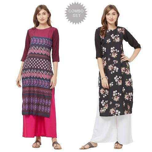 Flattering Casual Printed Crepe Kurti - Pack of 2