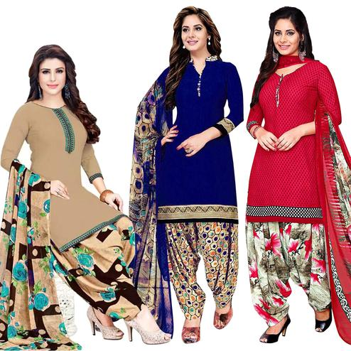 Opulent Casual Printed Crepe Dress Material - Pack of 3