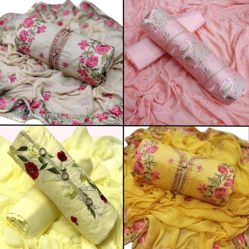 Lovely Partywear Embroidered Dress Material - Pack of 4