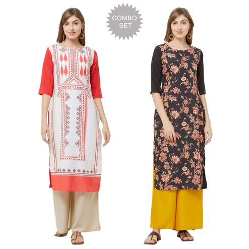 Flamboyant Casual Printed Crepe Kurti - Pack of 2