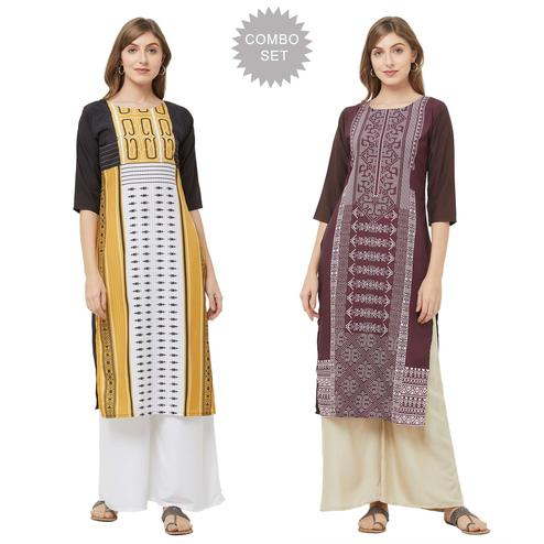Flaunt Casual Printed Crepe Kurti - Pack of 2