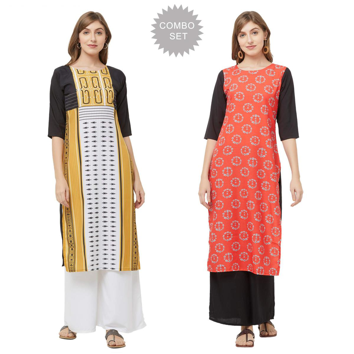 Stunning Casual Printed Crepe Kurti - Pack of 2