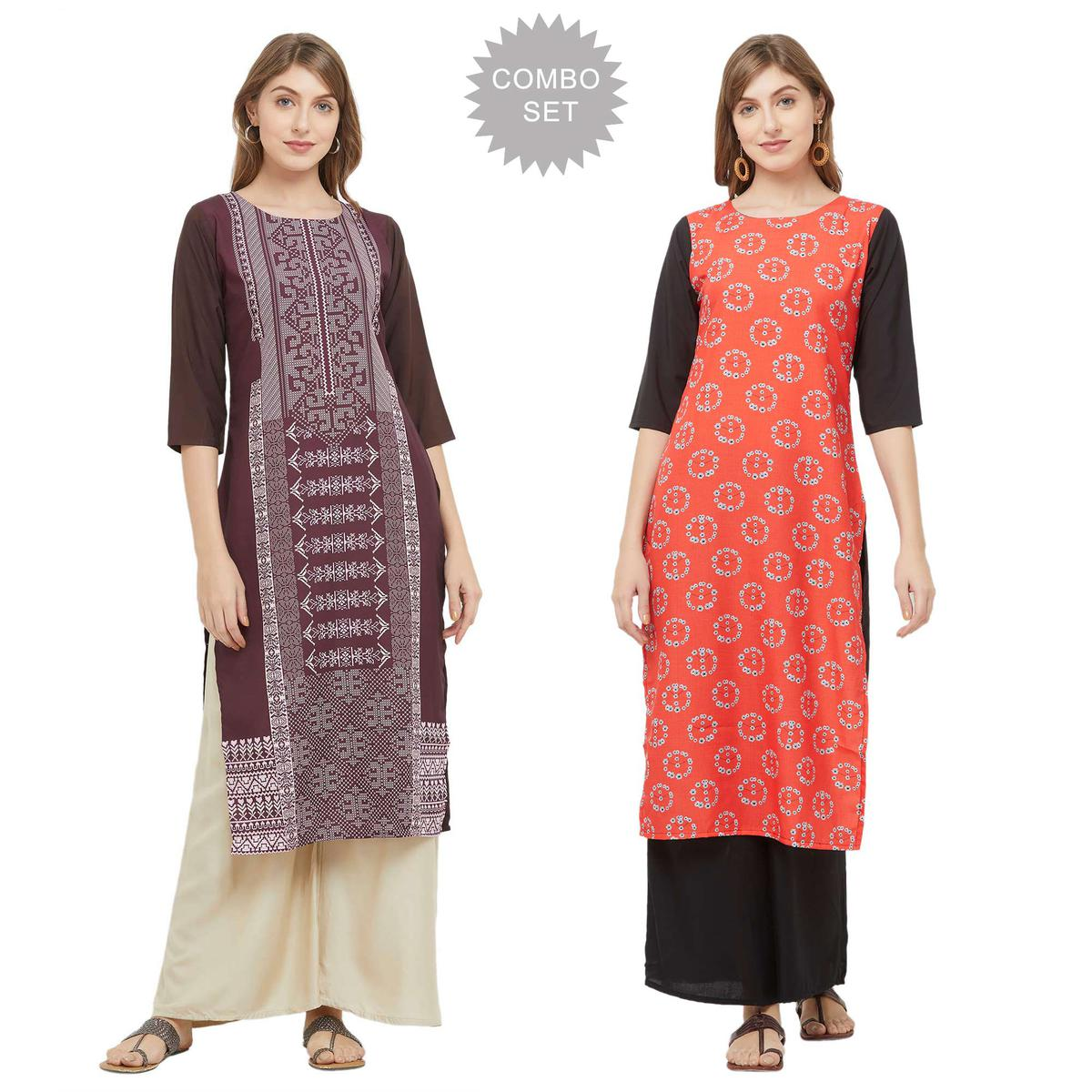 Flirty Casual Printed Crepe Kurti - Pack of 2