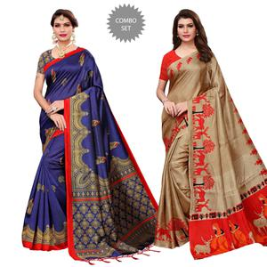 Refreshing Festive-Casual Wear Printed Saree - Pack of 2
