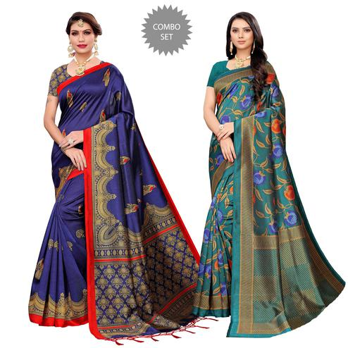 Magnetic Festive-Casual Wear Printed Saree - Pack of 2