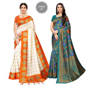 Hypnotic Festive-Casual Wear Printed Saree - Pack of 2
