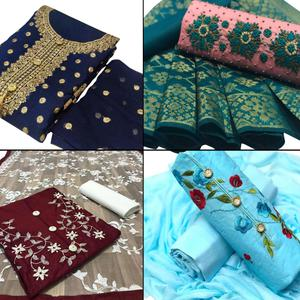 Hypnotic Partywear Embroidered Chanderi Silk-Cotton Dress Material - Pack of 4
