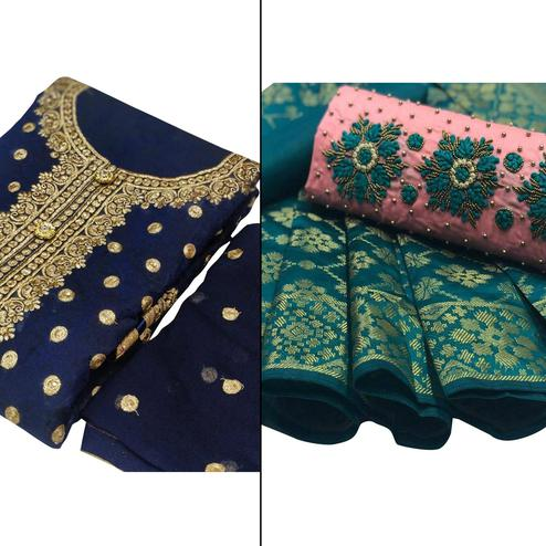 Flattering Partywear Embroidered Chanderi Silk Dress Material - Pack of 2