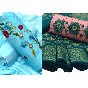 Excellent Partywear Embroidered Cotton-Chanderi Silk Dress Material - Pack of 2