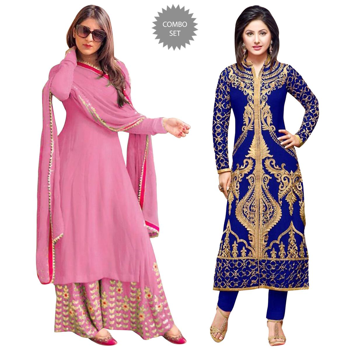 Ethnic Partywear Embroidered Georgette Suit - Pack of 2