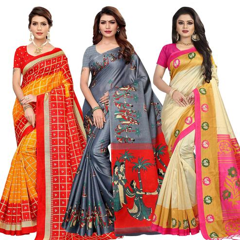 Graceful Casual Printed Silk Saree - Pack of 3