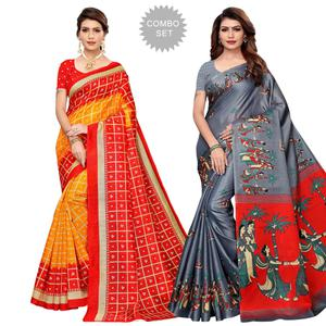Charming Casual Printed Art Silk-Khadi Silk Saree - Pack of 2
