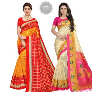 Jazzy Casual Printed Art Silk-Mysore Silk Saree - Pack of 2