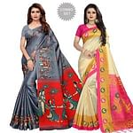 Delightful Casual Printed Khadi Silk-Mysore Silk Saree - Pack of 2